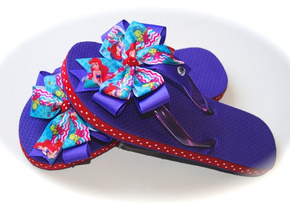 094d748460a Disney Ariel from the Little Mermaid Flip Flop Sandals with Rhinestone  Girls Toddler Sizes