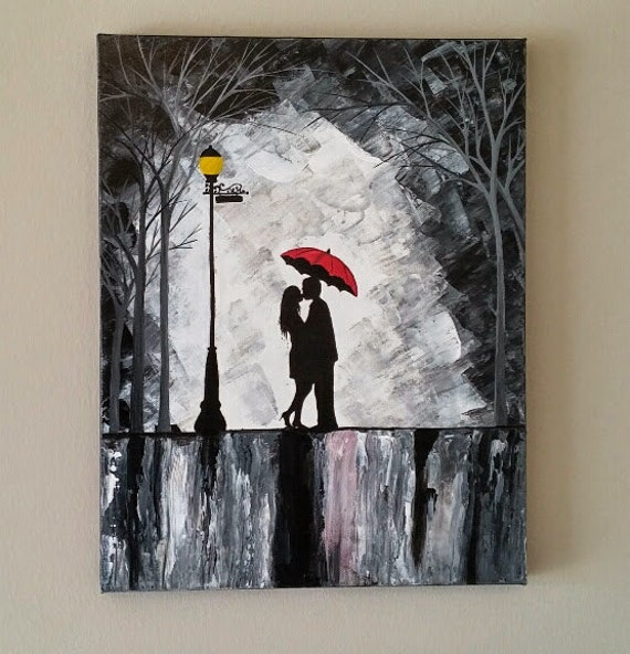 Original Couple In Rain Painting Couple Kissing In The Rain