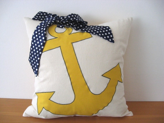 Anchor Pillow Navy Blue Yellow Nautical Throw Beach House