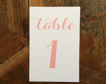 White or Ivory Table numbers with Blush ink