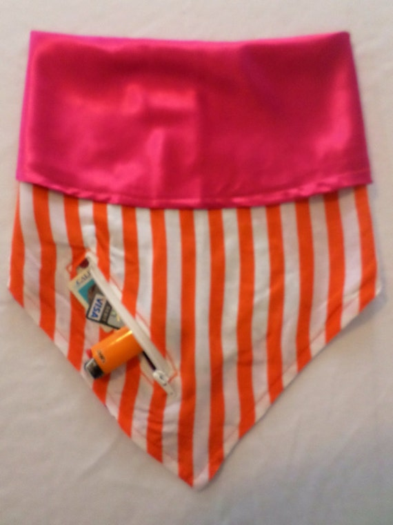 Big Top Beauty XL: Orange/White Horizontal Stripes & Hot Pink Satin Reversible Bandana with Stash Pocket by BandHäna