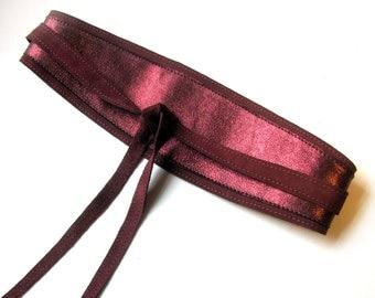 Burgundy leather Obi belt, Dark red wide waist belt