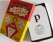 vintage alphabet flash cards in box ~ abc's ~ farichild corp.