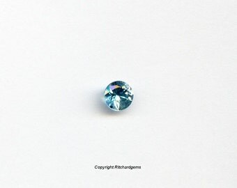 Natural 5 mm Blue Zircon Faceted Round Diamond Cut  For One