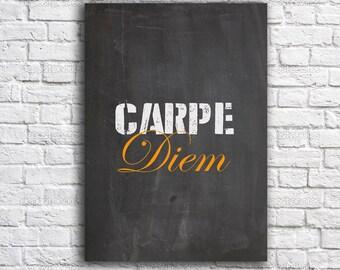 Carpe diem print - Typography print - Inspirational print -motivational art print - Gray print- carpe diem art - Typography print - A4 print