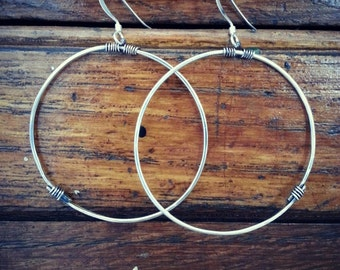 Sterling silver wire wrapped hoops