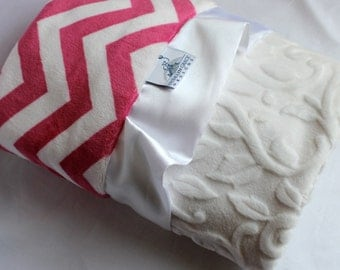 Pink and Snow White Chevron Baby Girl Minky Blanket with White Embossed Vine Print and Soft Satin Ruffle Trim