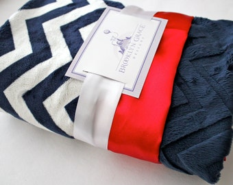 Navy and White Chevron with Solid Navy Embossed Chevron Minky - Red Satin Trim Minky Baby Blanket, Baby Girl or Boy, Nautical, Patriotic