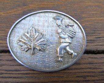 Vintage Silver Ecuador Oval Brooch -  Ecuador Farmer Brooch