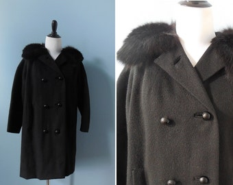 Vintage FUR collar coat WOOL COAT black real fur princess coat winter coat double breasted womens small