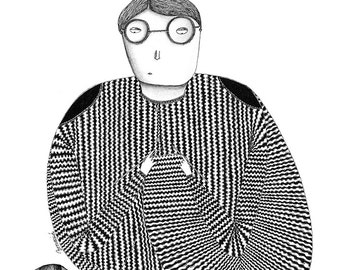 Illustration. Knitting obsession. Limited edition art print by Begoña Masiá.