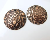 X-Large Round Embossed Copper Jewelry Connectors or Earring Dangles    HM15-011E