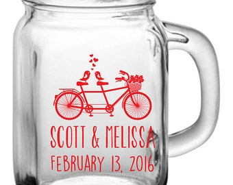 48 Custom Tandem Bicycle Wedding Mason Jars