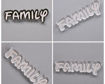 Family laser cut and engraved acrylic nameplate silver mirror