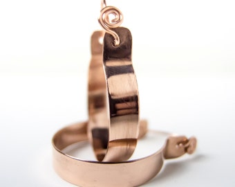 Polished Copper Hoop Earrings