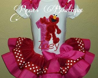 Pink Monster Elmo Ribbon Tutu Set