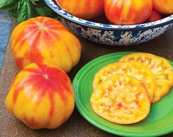 Organic Mr. Stripey Tomato Seeds, non-GMO, Grown in the USA, Heirloom, Open-Pollinated