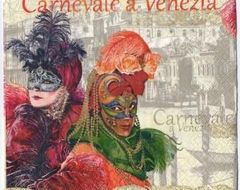 Decoupage Napkins | Carnevale a Venezia (Mardi Gras Carnival in Venice) | Mardi Gras Napkins | Carnival Napkins |Paper Napkins for Decoupage