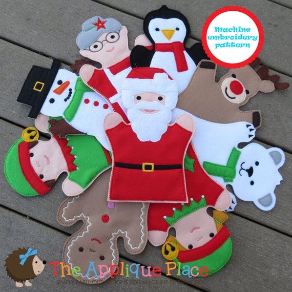 Pattern set of 9 christmas puppets hand and finger in the hoop ith