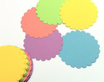 """150 - Gold Scallop Circle Paper Card-stock Tags - Size 2"""" - Favor Tags"""