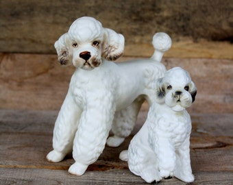 Vintage Bisque Poodle Figurines- Set of Two