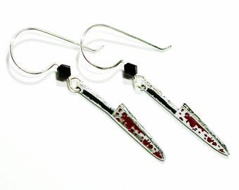 Horror Movie Bloody Butcher Knife Earrings
