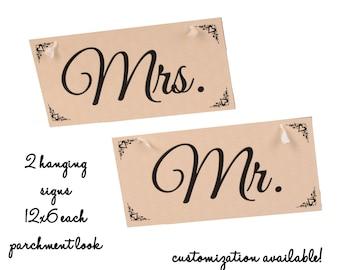 Mr/Mrs Hanging Signs - parchment design