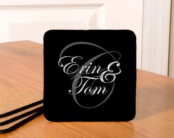 Personalized Monogramed Coasters/Wedding Coasters - set of 4 - black with grey letters