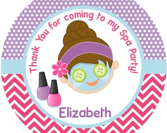 """Personalized Stickers Spa Party, Pamper Party Personalized Labels Size 2.25"""""""
