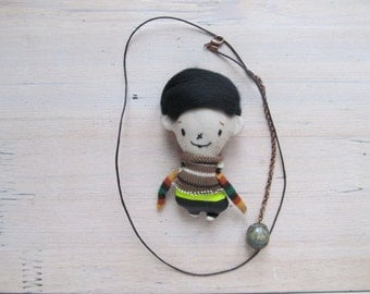 Miniature boy doll - Fabric necklace - Fabric toy - Doll necklace - Gift for boy girl - Stuffed textile rag doll.