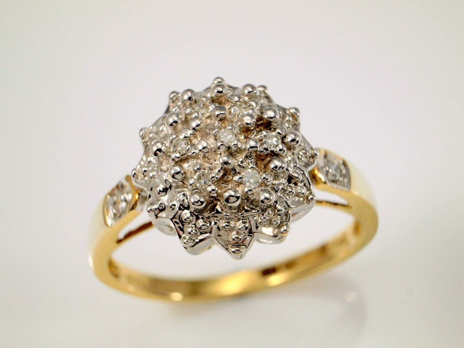 Diamond cluster engagement ring vintage diamond ring for Cluster wedding rings