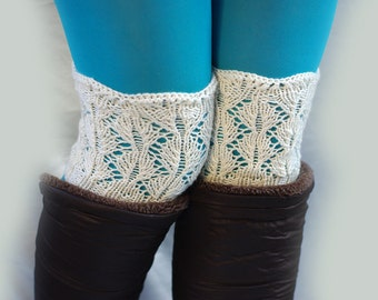 Clearance sale! Womens Lace Boot Cuffs, Knitted Boot Cuffs, Women's Lace Boot Toppers, Boot Toppers, Womens Boot Socks, Lace Leg Warmers