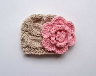 Knit Baby Girl  Hat , Baby Hat Photo Prop , Knit Baby Hat , Crochet Flower Hat ,Photo Prop