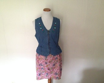 90's Denim and Floral Dress XXL 14/16