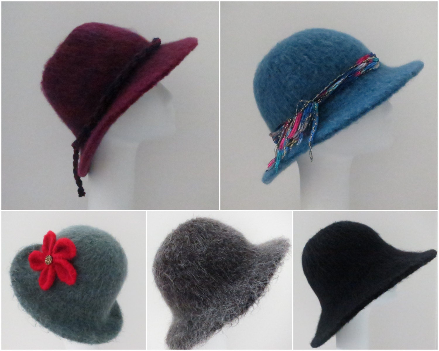 Four of my Felted Hat Patterns 205 Flat Brim Hat using