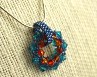 Swarovski Crystal Circle Necklace Indicolite