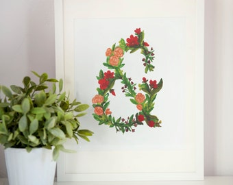 "Ampersand - Summer Flowers, Art Print - 8.5"" x 11"""