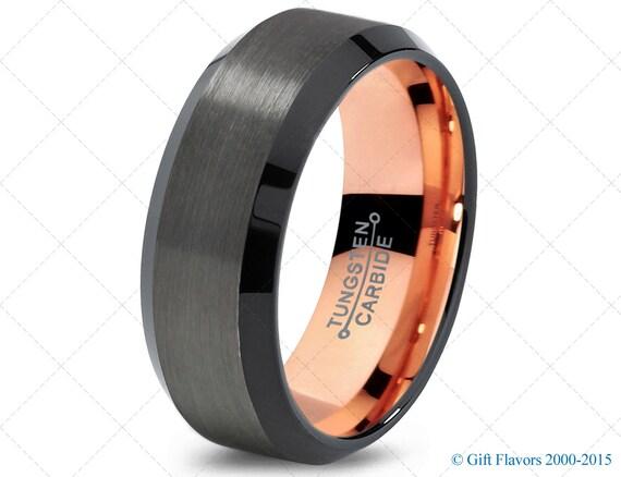 black gunmetal tungsten ring gold wedding band by