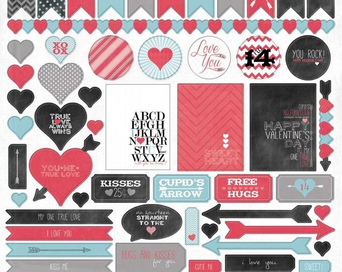 1 Sheet of My Mind's Eye CUPID'S ARROW 12x12 Valentine's Day Scrapbook Stickers