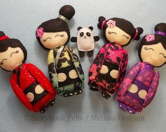 Felt Doll Kokeshi Plush Doll With Pet Panda