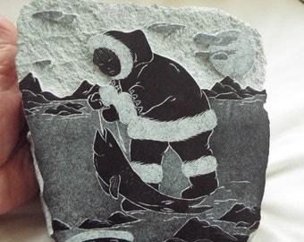 Inuit Eskimo soapstone carving Ice fishing sculpture stone art