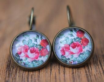 Rose Earrings, Floral Earrings, Red Rose, Flowers, Glass Dome Earrings, Dangle Earrings, Lever Back