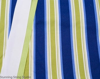 Blue Folk Stripe - Plum Creek Knitting Project Bag - Choice of Size (1057)