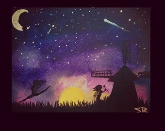 "50% OFF 8x10Acrylic Nursery Girls Room Painting ""Stardust Dreams"" Fairies Dancing in Field By The Windmill Painting"