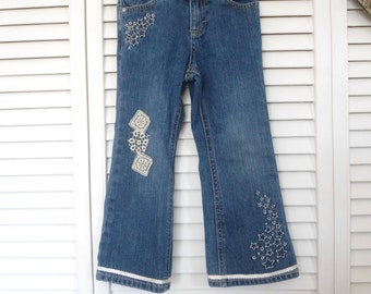 Hippie Lace Jeans Size 4T Girls Upcycled Lace Jeans redesigned boho jeans gypsy cowgirl glam