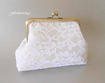 Wedding Clutch,Bridal White Lace and cream satinPurse, Wedding Bridesmaid Clutch with Kisslock