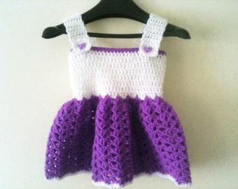 Handmade Crochet Baby Dress for Baby Girl Designer 0-3 purple