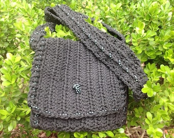 Small Purse, crossbody, dark gray - OOAK