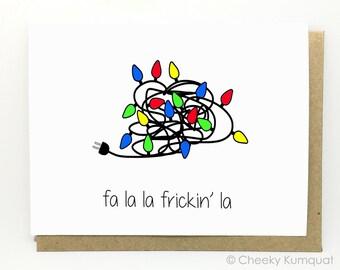 Funny Christmas Card - Holiday Card - Fa La La.