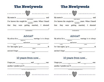 Wedding Madlibs Digitial Download
